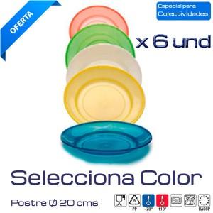 Plato postre colores 20cm. (Caja 6 und)