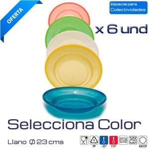 Plato llano colores 23cm. (Caja 6 und)