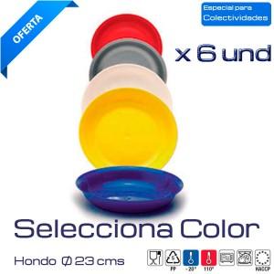 Plato hondo colores 23cm. (Caja 6 und)