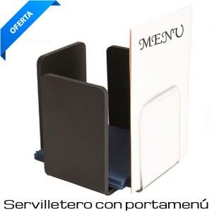 Servilletero con soporte cartas negro