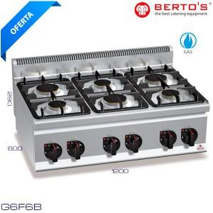 Cocina a gas 6 fuegos Bertos