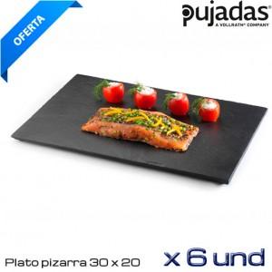 Plato pizarra cuadrado 30x20 cm (Caja 6 und)