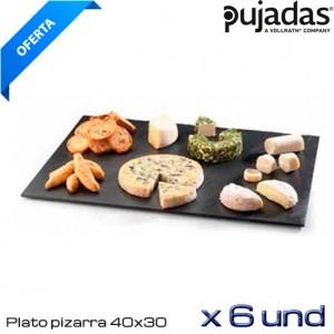 Plato pizarra rectangular 40x30cm (Caja 6 und)
