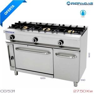 Cocina 3 fuegos+horno Repagas