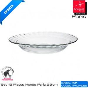 Plato Hondo París vidrio 23 cms