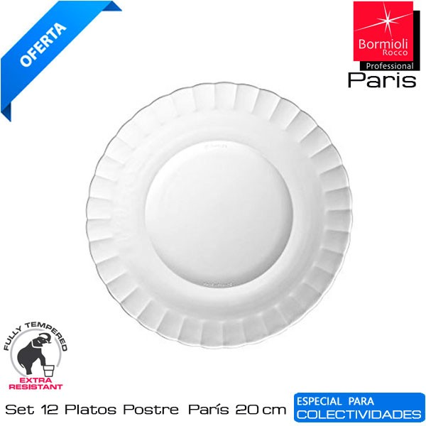 Plato Postre París vidrio 20 cms