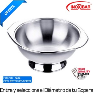 Sopera con base acero inoxidable