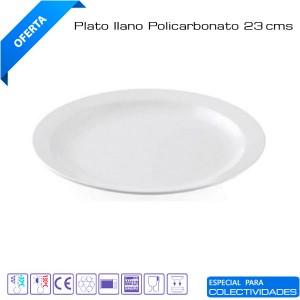 Plato llano policarbonato 23cm diámetro