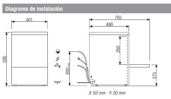 Características de instalación del lavavasos barato